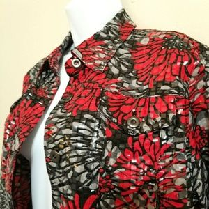 Ruby Rd Short Very Shiny Black Red Jacket O-10-E